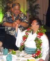 Teaching Hakuho the Hawaiian Shaka